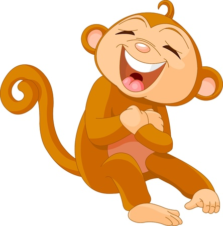 laughs: Funny Cute little  monkey Laughing  Illustration