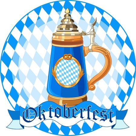 Round  Oktoberfest Celebration design with mug Vector