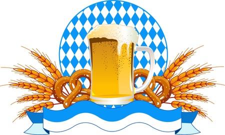 ビール、小麦の耳を持つラウンドのオクトーバーフェストのお祝いのデザイン
