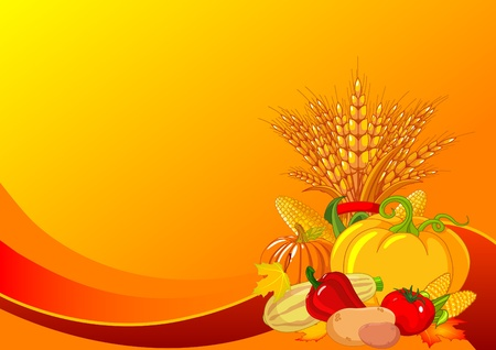 holiday background:  Seasonal design with plump pumpkins, wheat, vegetables and autumn leaves