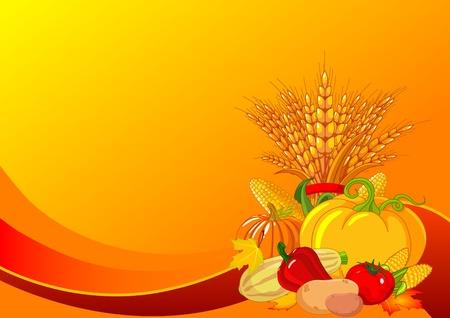 Seizoensgebonden ontwerp met mollige pompoenen, tarwe, groenten en herfstbladeren