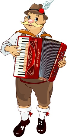 Oktoberfest Germany musician Playing  Accordion  Çizim