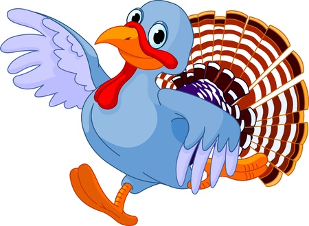 Cartoon turkey running, isolated on white background  Illustration