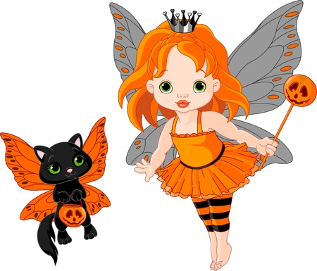 cartoon fairy: Illustration of Halloween baby fairy and her cat