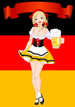 bavarian girl: Vertical  Oktoberfest Celebration Background with girl serving beer Illustration
