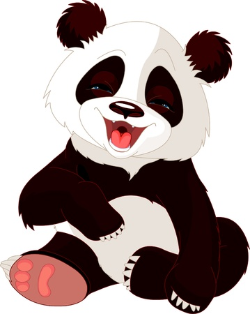 Very cute baby panda laughing Vector