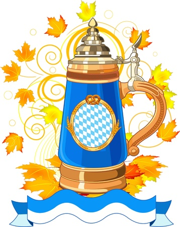 Oktoberfest Celebration design with mug and autumn leaves Vector