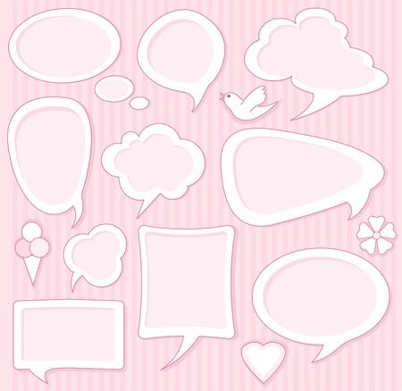Set of Cute pink speech bubbles Vector