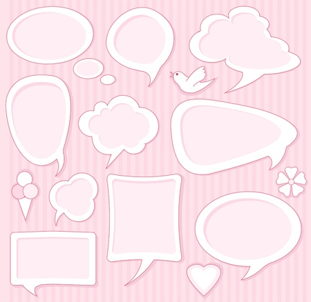 cute text box: Set of Cute pink speech bubbles