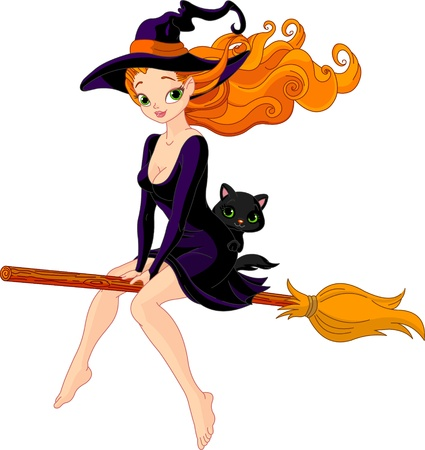 Illustration of witch riding a broom Stock Vector - 10658328
