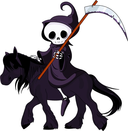 Cute cartoon grim reaper with scythe  riding black horse Vector