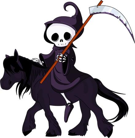 Leuke cartoon Magere Hein met zeis rijden zwart paard