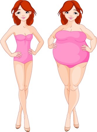 diet cartoon: Illustration of pretty girl before and after diet