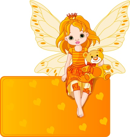 Little fairy sitting on place card Vector