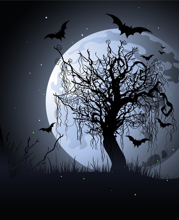 Creepy tree at night.  Halloween background Vector