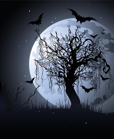 gruselig: Gruseliger Baum in der Nacht. Halloween-Hintergrund Illustration
