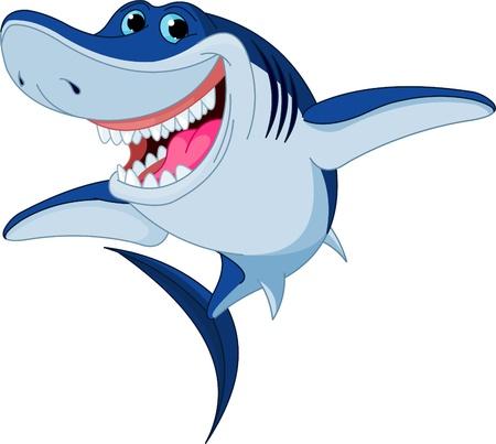 shark cartoon: de dibujos animados de tiburón divertido aislado en el fondo blanco Vectores