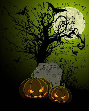 fruit bat: halloween illustration with tombstone and pumpkins