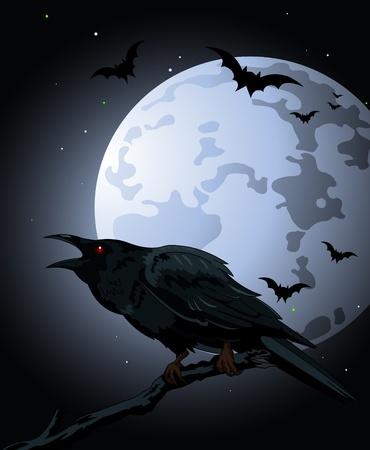 volle maan: halloween kraai zitten en croaks tegen een volle maan Stock Illustratie
