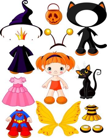 brujas caricatura: muñeca de papel con tres vestidos para la fiesta de halloween Vectores