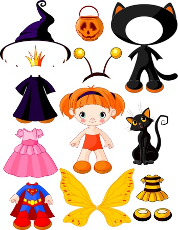 paper doll with three dresses for halloween party Vector