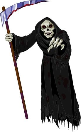 halloween verschrikkelijk Grim Reaper Vector Illustratie