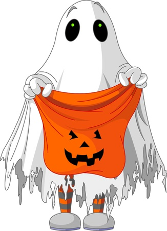 tricks: Child  in ghost costume trick or treating