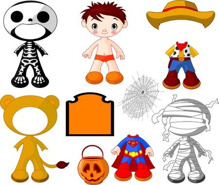 poup�e: Gar�on de poup�e de papier avec des costumes pour Halloween Party Illustration