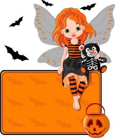 cute fairy: Illustration for Halloween fairy  sitting on place card