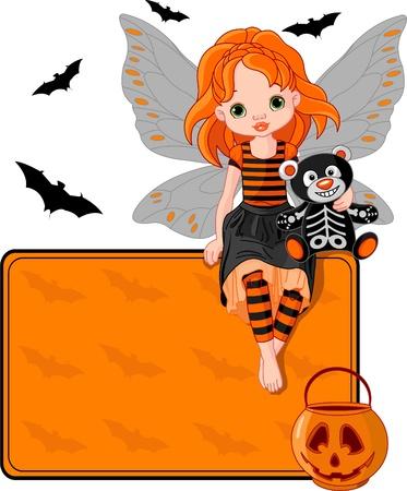 hadas caricatura: Ilustraci�n de hadas Halloween sentado en tarjeta de lugar