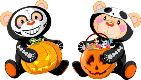 Cute Halloween Teddy Bears with costumes and treat
