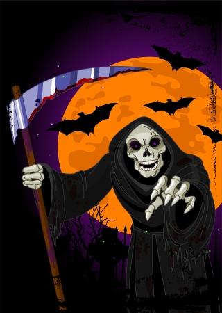 Halloween horrible Grim Reaper  background Vector