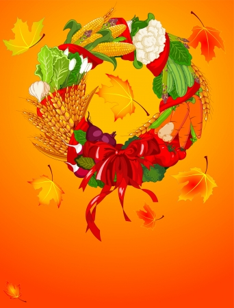 fall harvest: Autumn Welcome harvest background Illustration