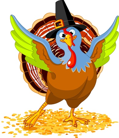 Illustration of Happy Thanksgiving Turkey Vector