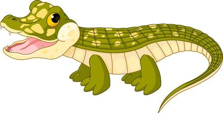 crocodile: Ilustración de cocodrilo bebé muy linda