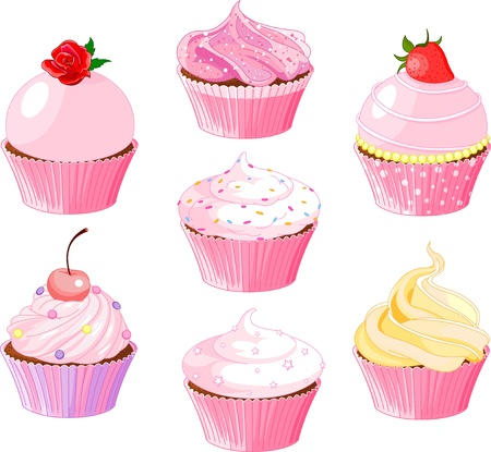 flower clip art: Set of various cupcake
