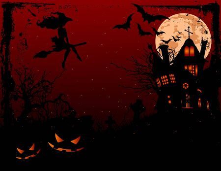 Halloween illustration of haunted house   in scary dark night Vector