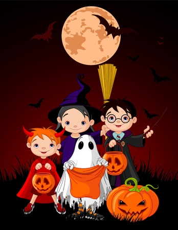 Halloween background with children trick or treating in Halloween costume Vector