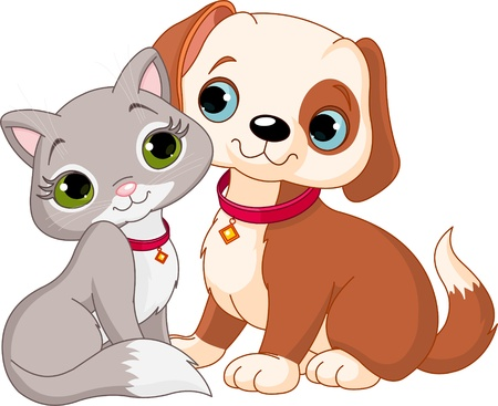 Dog and Cat Best Friends Ever Stock Vector - 10896624