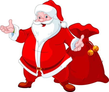 clip art santa claus: Happy Santa Claus with sack of gifts