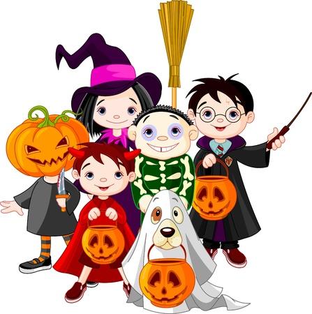 Halloween, niños, truco o trato en disfraces de Halloween
