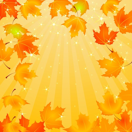 Falling Autumn Leaves background with copy space Vector