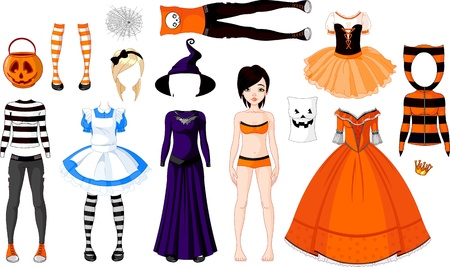 Halloween Paper Doll with different costumes 일러스트