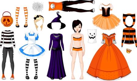 t shirt model: Halloween Paper Doll con costumi diversi Vettoriali