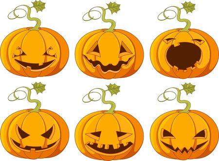 Conjunto de diferentes caras de calabazas de Halloween