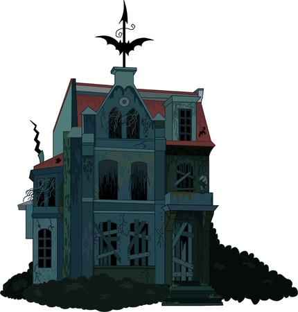 Illustration of a spooky haunted ghost house