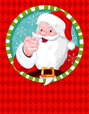 xmas background: Santa Claus pointing. Greeting card Illustration