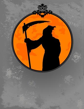 guadaña: Halloween horrible guadaña silueta diseño Vectores