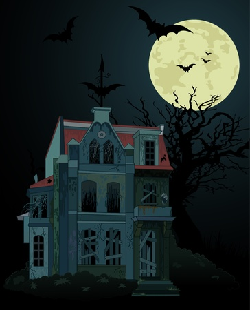haunted house: Spooky haunted ghost house background