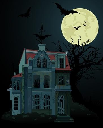 Spooky haunted spookhuis achtergrond Stock Illustratie